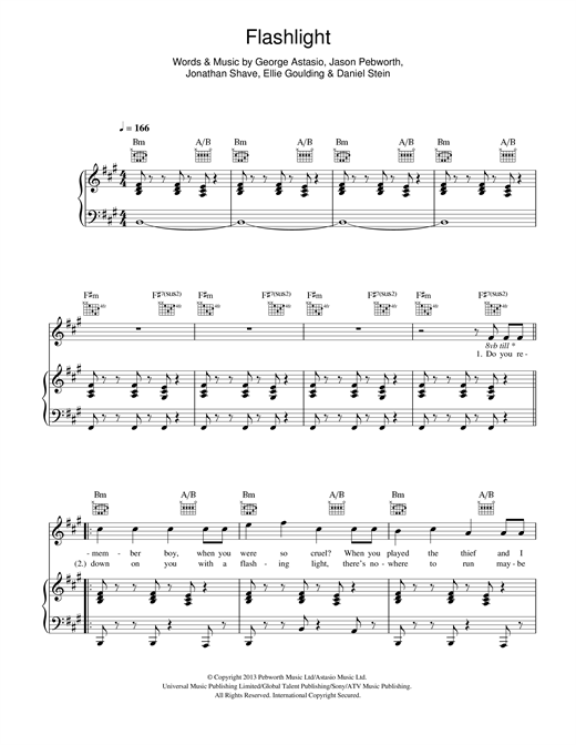 Piano u00bb Piano Chords Of Flashlight - Music Sheets, Tablature, Chords and Lyrics