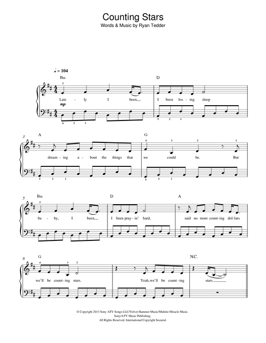Piano u00bb Counting Stars Piano Chords - Music Sheets, Tablature, Chords and Lyrics