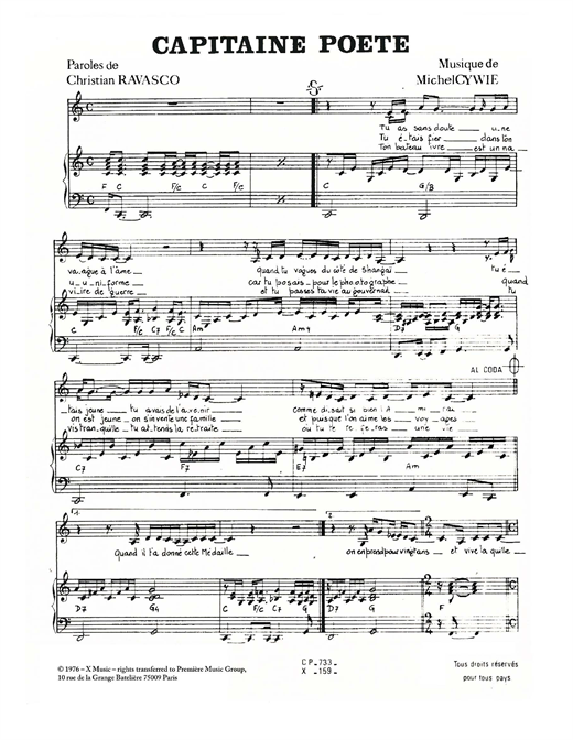 Captaine Poete Sheet Music