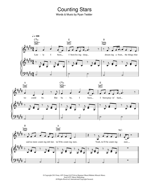 Counting Stars Sheet Music