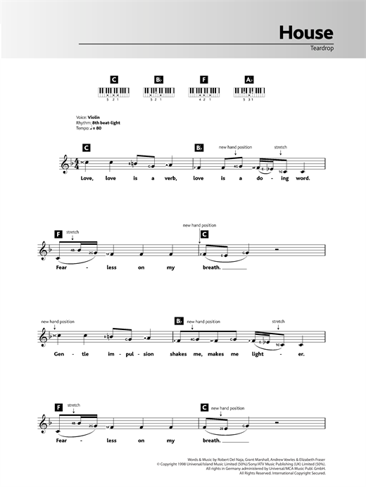 Teardrop (theme from House) Sheet Music