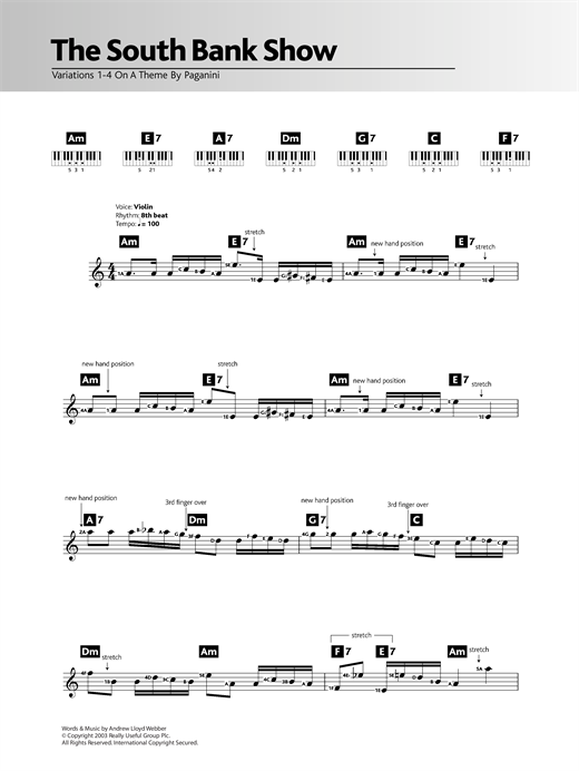 Partition piano Variations 1-4 (theme from The South Bank Show) de Andrew Lloyd Webber - Synthétiseur