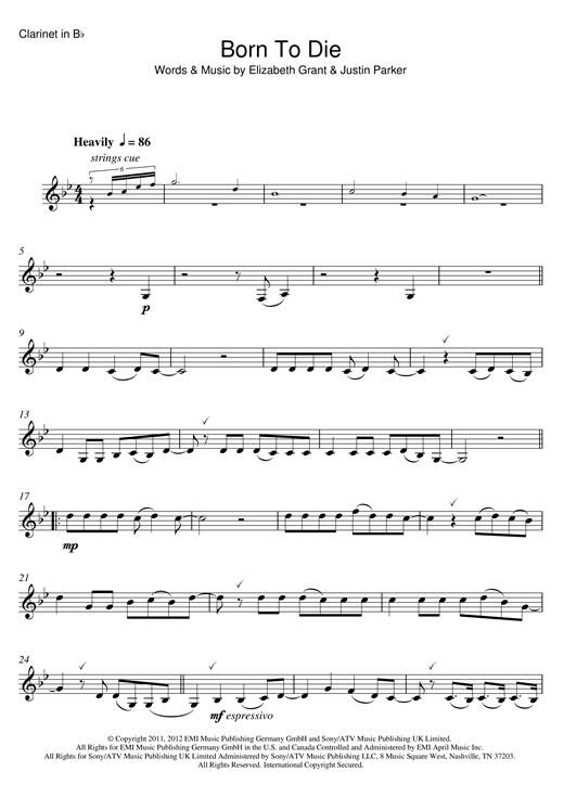 Born To Die Sheet Music