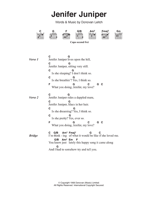 Jennifer Juniper Sheet Music