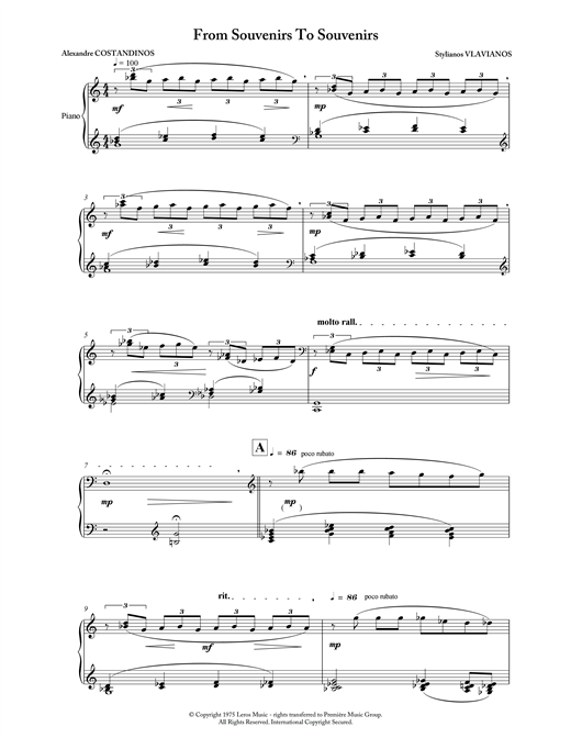Partition piano From Souvenirs To Souvenirs de Stylianos Vlavianos - Piano Solo