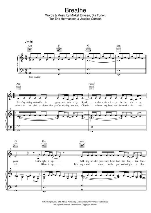 Breathe Print Sheet Music Now
