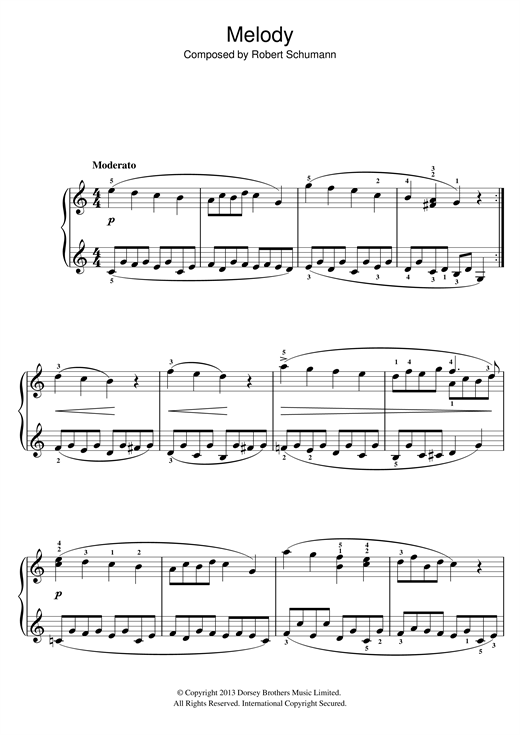 Partition piano Melody de Robert Schumann - Piano Facile