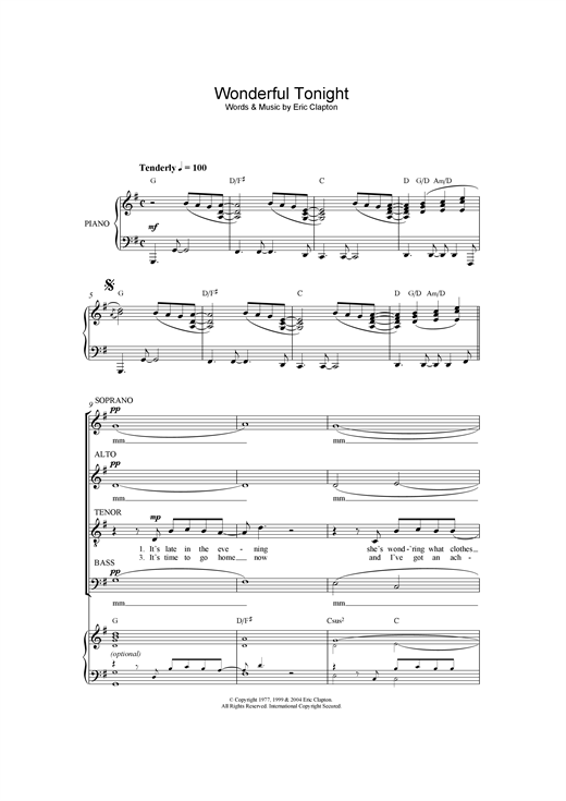 Partition chorale Wonderful Tonight de Eric Clapton - SATB