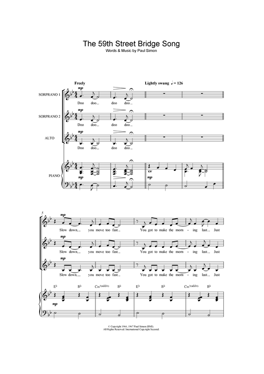 page one of The 59th Street Bridge Song (Feelin' Groovy) (arr. Frank Metis)ASALTTEXT