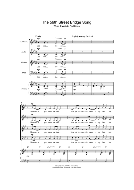 The 59th Street Bridge Song (Feelin' Groovy) (arr. Frank Metis) Sheet Music