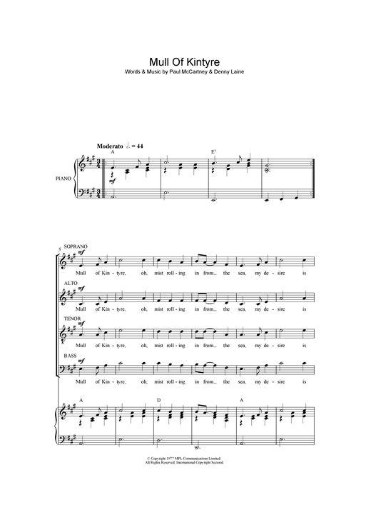 Partition chorale Mull Of Kintyre de Paul McCartney - SATB