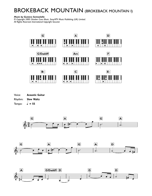 Theme from Brokeback Mountain Sheet Music