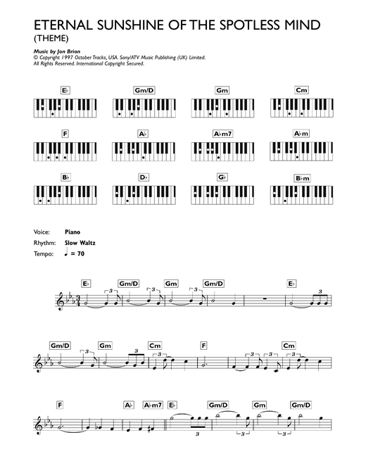 Eternal Sunshine Of The Spotless Mind (Theme) Sheet Music