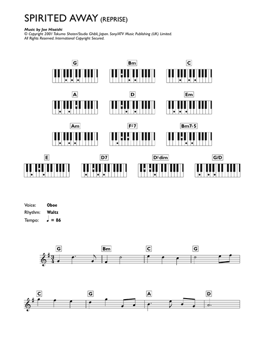 Reprise (from Spirited Away) Sheet Music