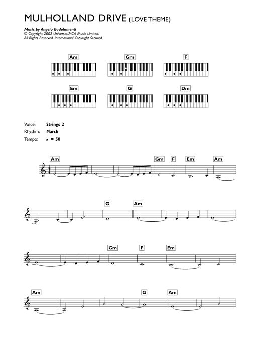 Mulholland Drive (Love Theme) Sheet Music