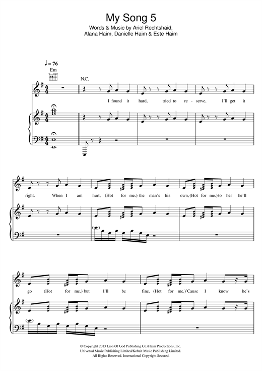 My Song 5 Sheet Music
