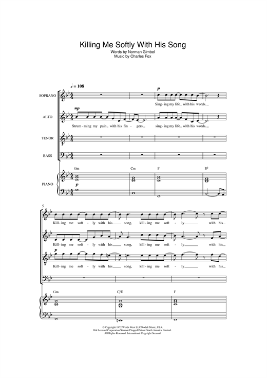 Partition chorale Killing Me Softly With His Song de Roberta Flack - SATB
