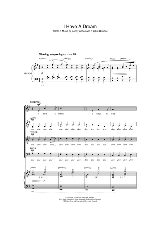Partition chorale I Have A Dream de Abba - SATB