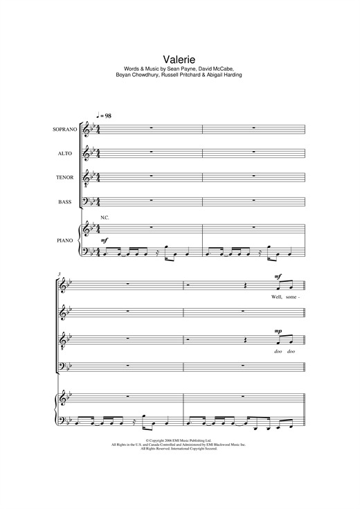 Valerie Sheet Music