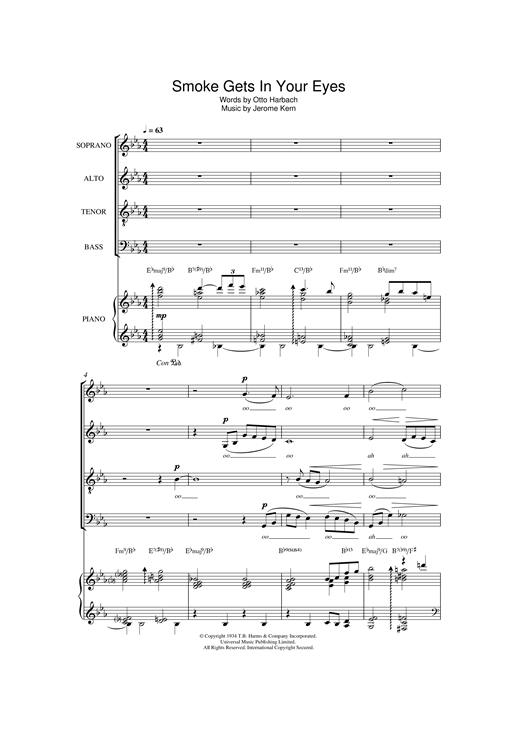 Partition chorale Smoke Gets In Your Eyes (from 'Roberta') de The Platters - SATB