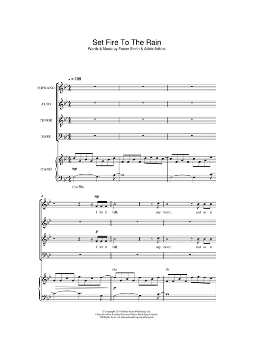 page one of Set Fire To The Rain (arr. Christopher Hussey)ASALTTEXT