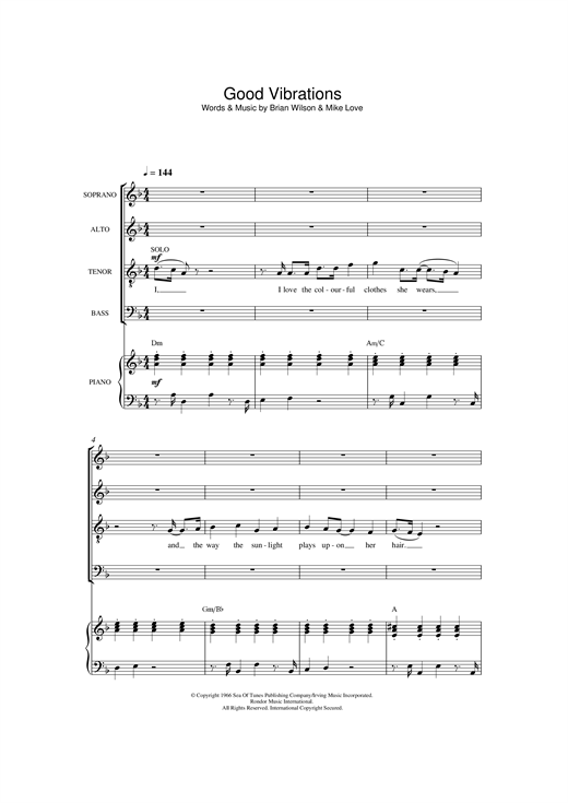 Partition chorale Good Vibrations de The Beach Boys - SATB