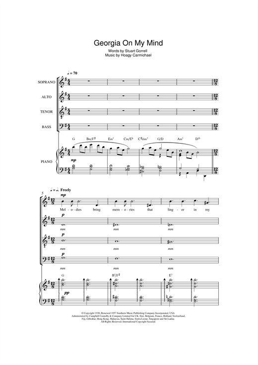 Partition chorale Georgia On My Mind de Ray Charles - SATB
