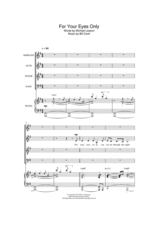 For Your Eyes Only Sheet Music