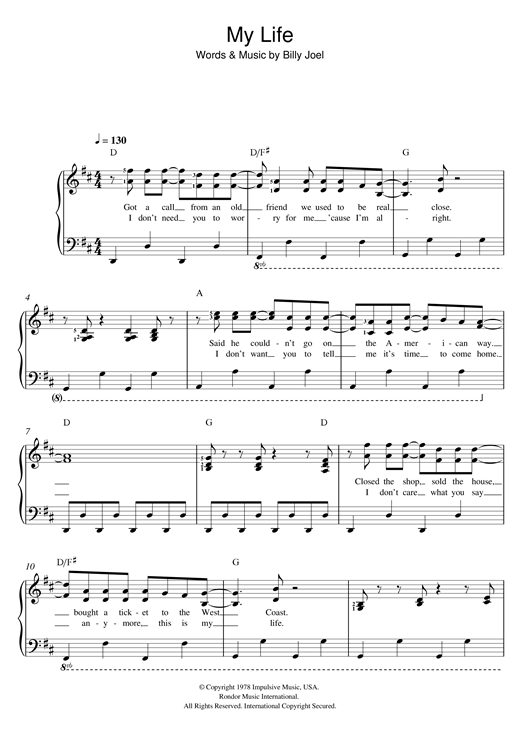 My Life Sheet Music