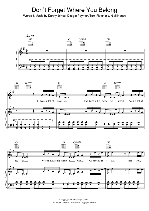 Don't Forget Where You Belong Sheet Music