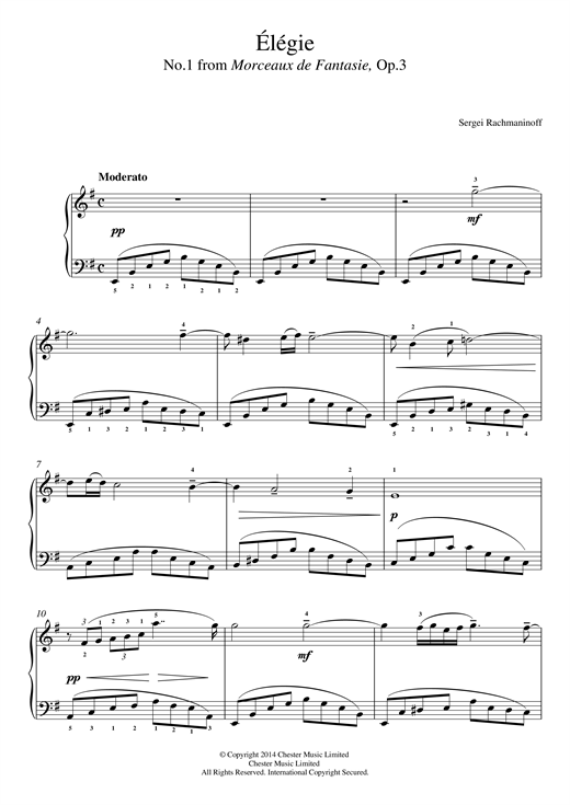 Élégie (No.1 from Morceaux de Fantasie, Op.3) Sheet Music