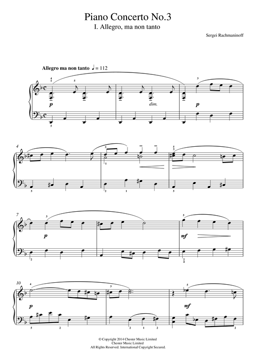 Piano Concerto No.3 - 1st Movement Sheet Music
