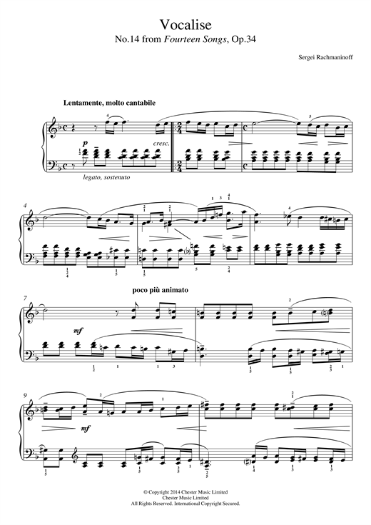 Partition piano Vocalise (No.14 from Fourteen Songs, Op.34) de Sergei Rachmaninoff - Piano Facile
