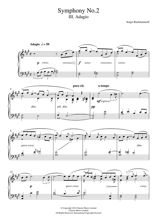 Partition piano Symphony No.2 - 3rd Movement de Sergei Rachmaninoff - Piano Facile