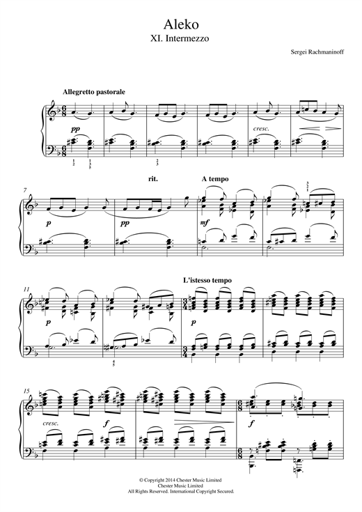 Aleko - No.11 Intermezzo Sheet Music