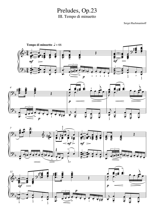 Preludes Op.23, No.3 Tempo di minuetto Sheet Music