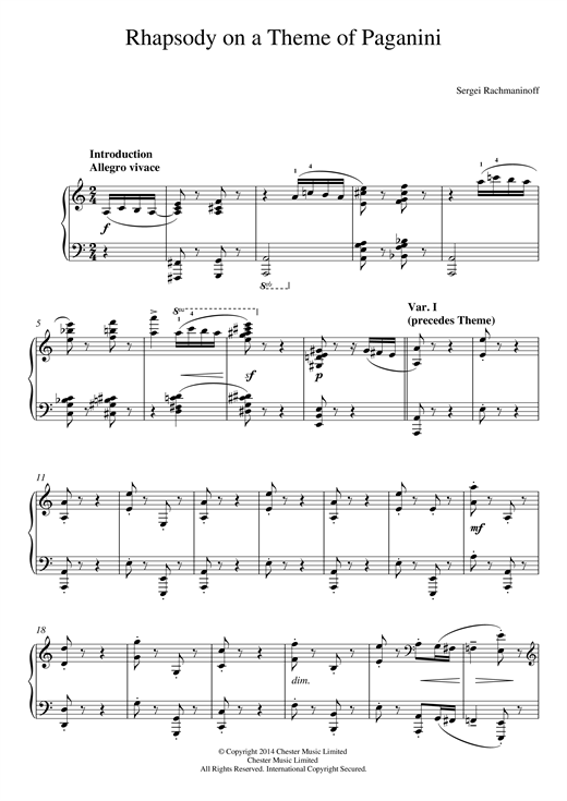 Partition piano Rhapsody on a Theme of Paganini de Sergei Rachmaninoff - Piano Solo