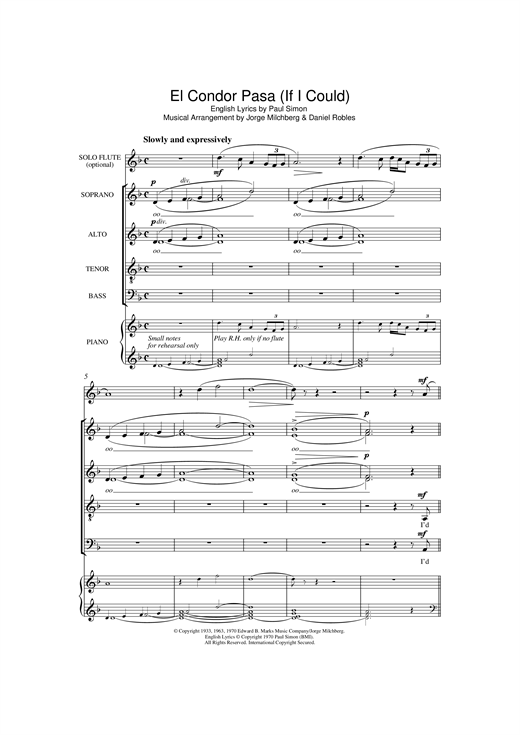El Condor Pasa (If I Could) (arr. William Reed) Sheet Music