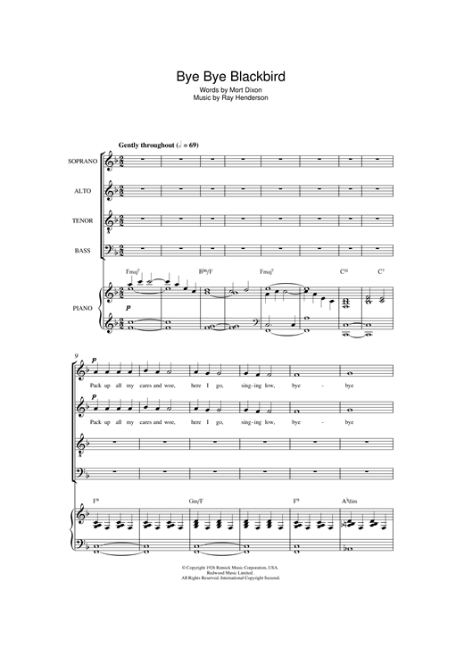 page one of Bye Bye Blackbird (arr. Jonathan Wikeley)ASALTTEXT