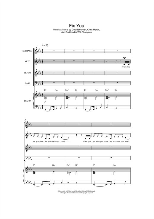 Partition chorale Fix You de Coldplay - SATB