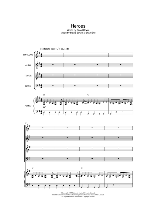 Partition chorale Heroes de David Bowie - SATB