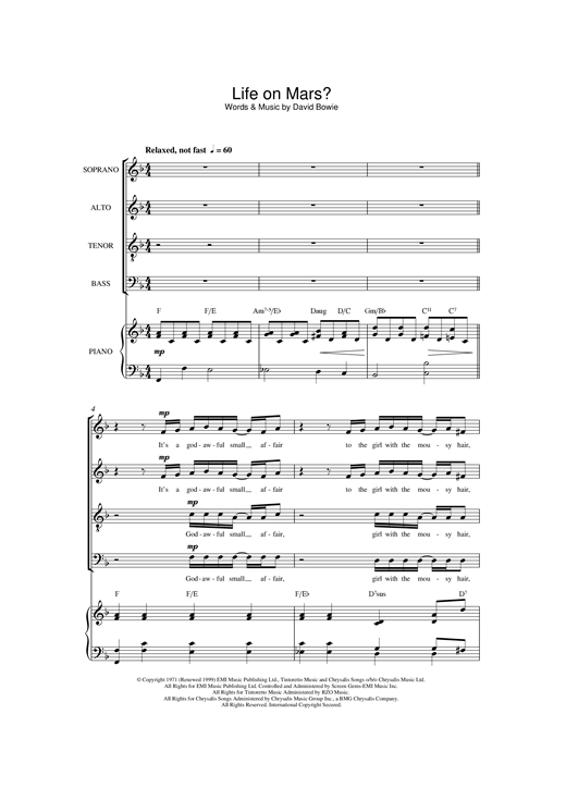 Partition chorale Life On Mars? de David Bowie - SATB