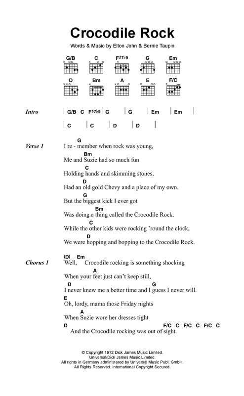 Crocodile Rock (Guitar Chords/Lyrics)
