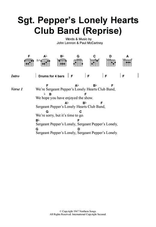 Sgt. Pepper's Lonely Hearts Club Band (Reprise) Sheet Music