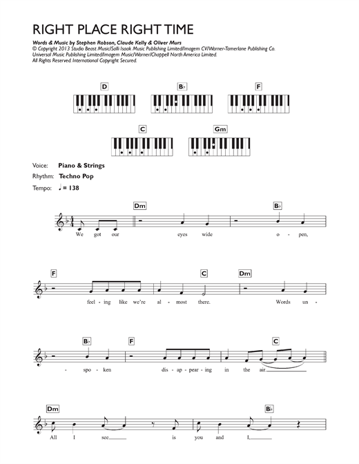 Right Place Right Time Sheet Music