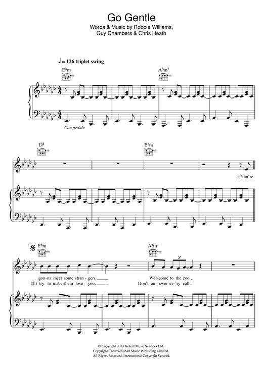 Partition piano Go Gentle de Robbie Williams - Piano Voix Guitare