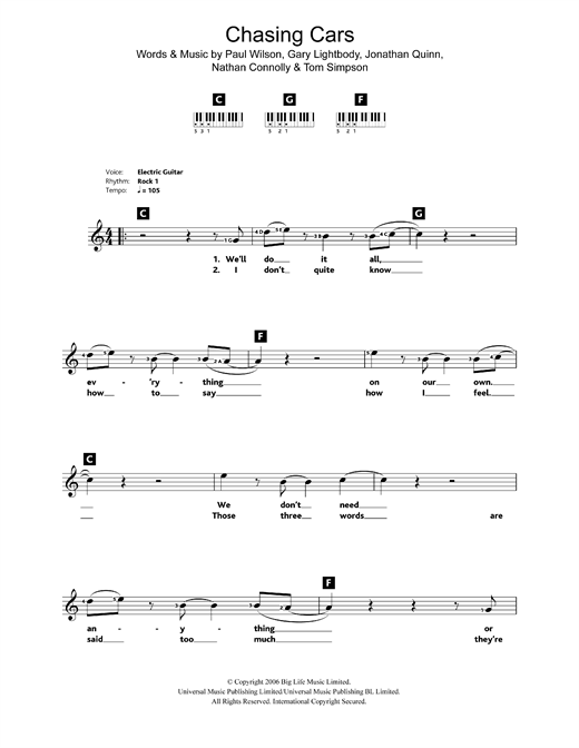 Chasing Cars Sheet Music