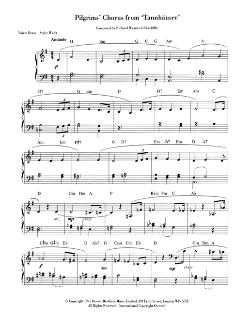 Pilgrims' March Sheet Music