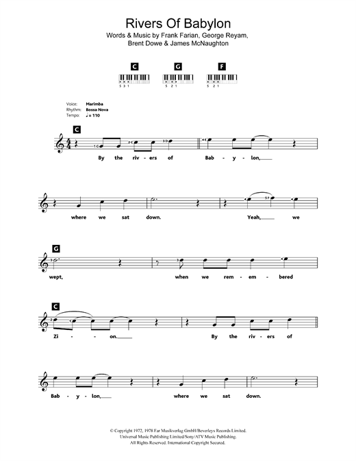 Rivers Of Babylon Sheet Music