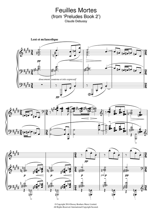 Partition piano Feuilles Mortes (from 'Preludes Book 2') de Claude Debussy - Piano Solo